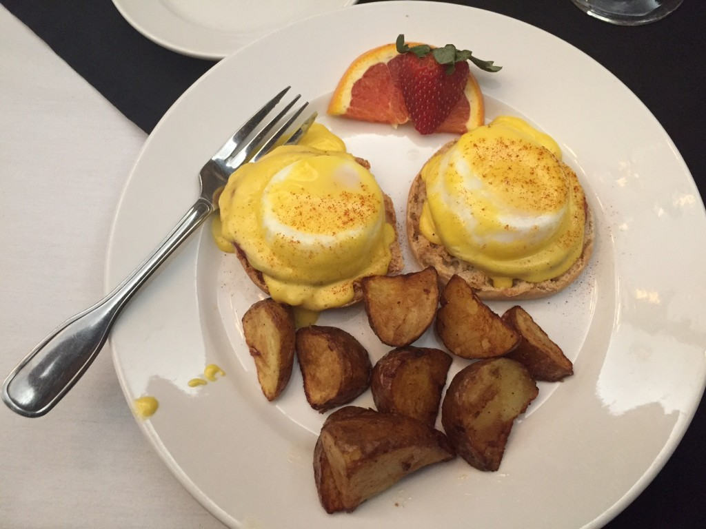 Thankfully I snapped a picture of my life changing Eggs Benedict. Actually, honestly, my first thought was boobs. After spending the week before with Meghan, that's all I could think about. Or, seriously, it does kinda look like a plate of boobs.